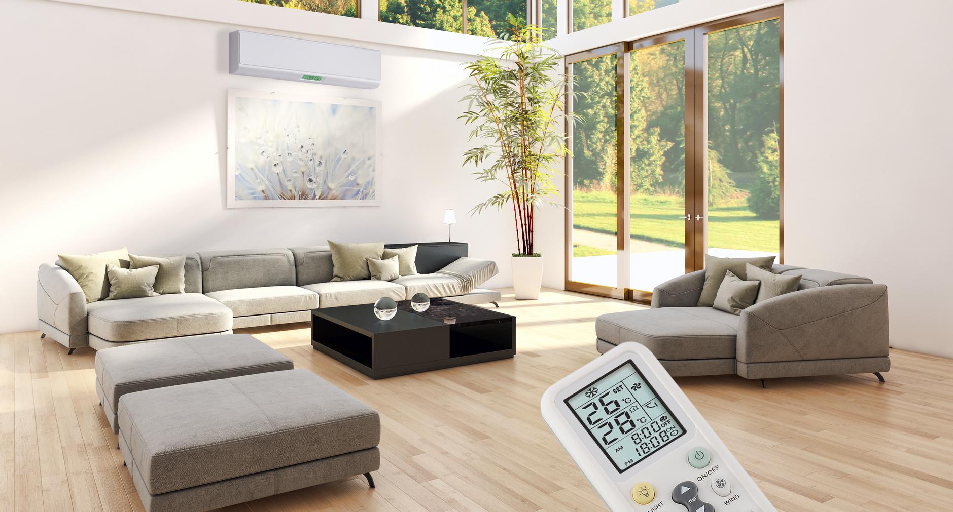 Sala de estar con climatización a partir de la bomba de calor